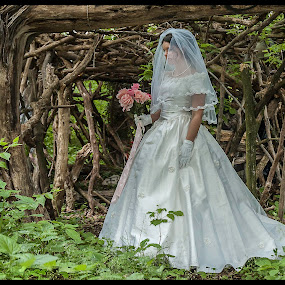 Displaced by Carter Keith - People Portraits of Women ( woman, outdoors, wedding dress, bride, woods, trash the dress )