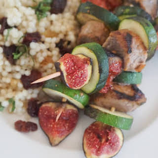 Grilled Lamb Kebabs with Harissa & Figs.