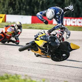 Crash during a race by Sabin Malisevschi - Sports & Fitness Motorsports ( fairing, race, yamaha, bike, side, event, pilot, r6, motorcycle, air, high, motorsport, crash )