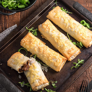 Steak and Cheese Filo Parcels.