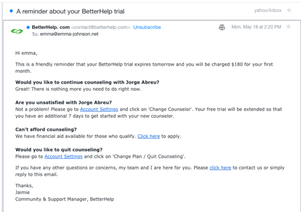 How to cancel BetterHelp, change therapists.