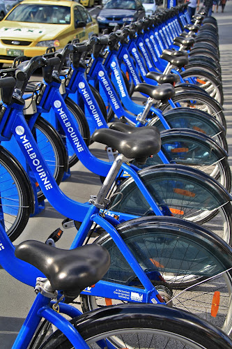 Bicycles For Hire by Leigh Thomson - Transportation Bicycles ( bicycles, rentas, melbourne, bikes, transportation, hire, city )