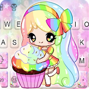 Colorful Cupcake Girl Keyboard Theme icon