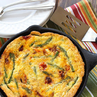 Rice Frittata with Caramelized Tomatoes & Asparagus.
