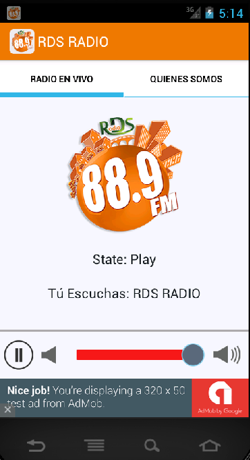 RDS RADIO: captura de pantalla