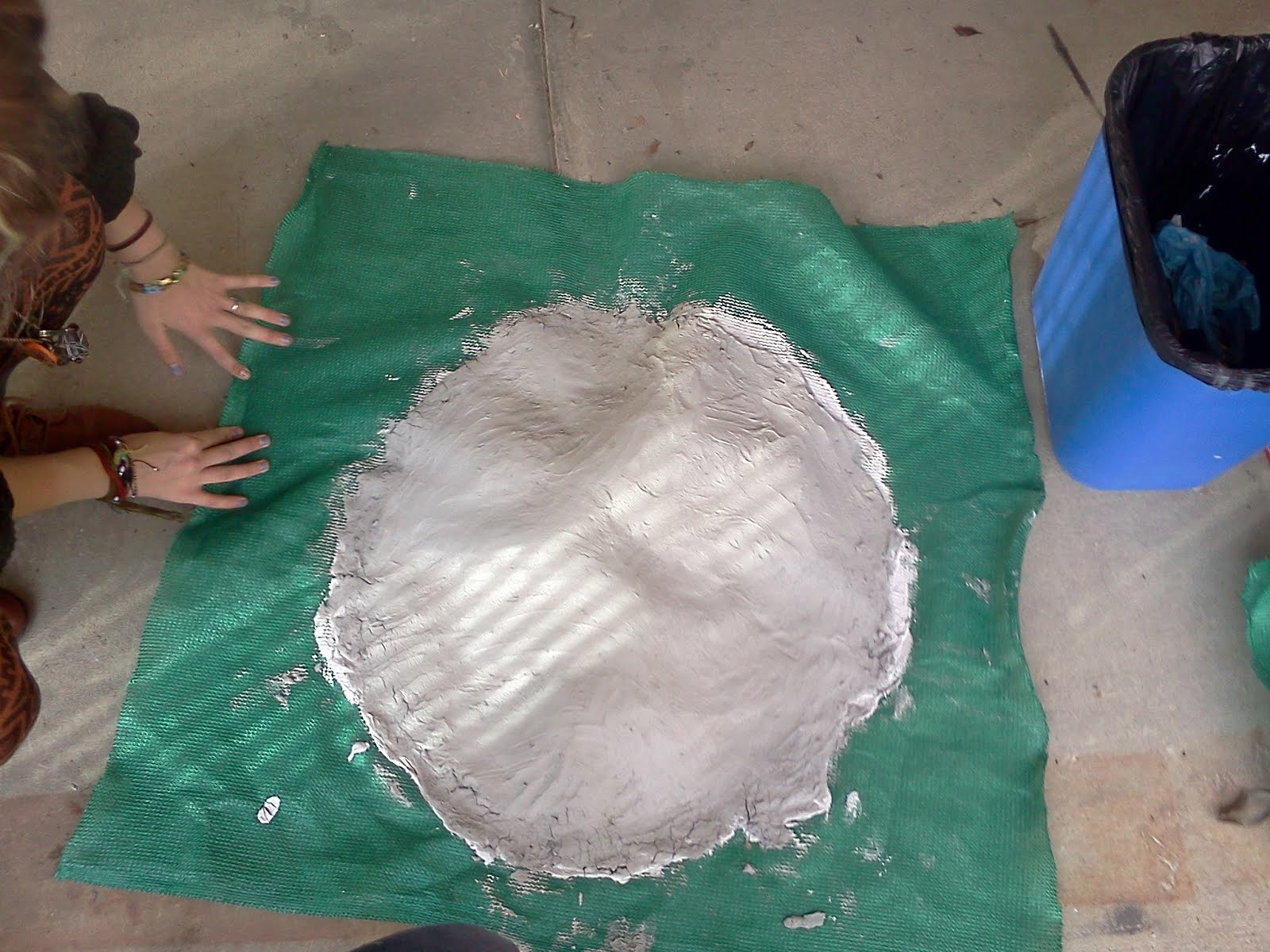 Latex-cement dish made in Lab #3 without a plastic mold underneath. Notice that is cannot hold it's own weight and is slightly concave on the outside in some areas.