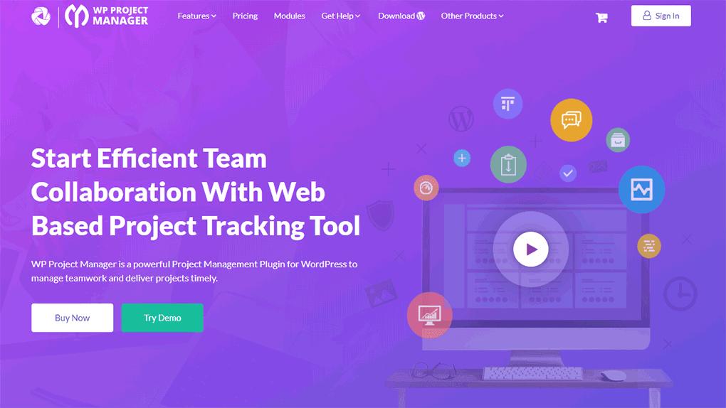 página inicial do site do plugin wp project manager