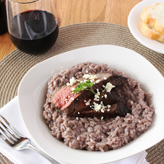 Red Wine Risotto with Steak and Blue Cheese.