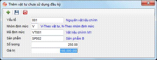 Phân bổ giá thành - vật tư chưa sử dụng đầu kỳ phần mềm kế toán 3tsoft