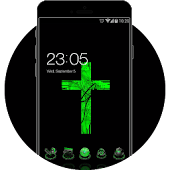 Green Cross Cool  Tech Theme: Dark Neon Green