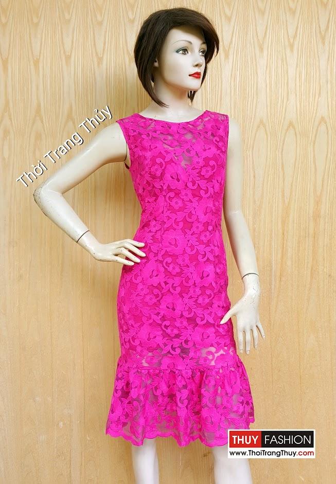 Váy ren chân xòe loa kèn tông màu hông V459 Thời Trang Thủy