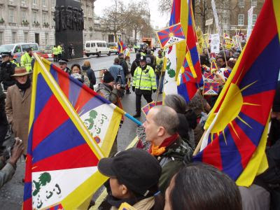 demonstration for Tibet outside Downing Street