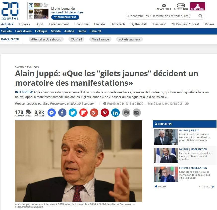 Alain Juppé - Gilets jaunes - 20 minutes