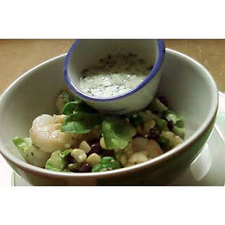 A Healthy Mexican Salad With Crosnes Served With Cilantro-Yogurt Dressing.