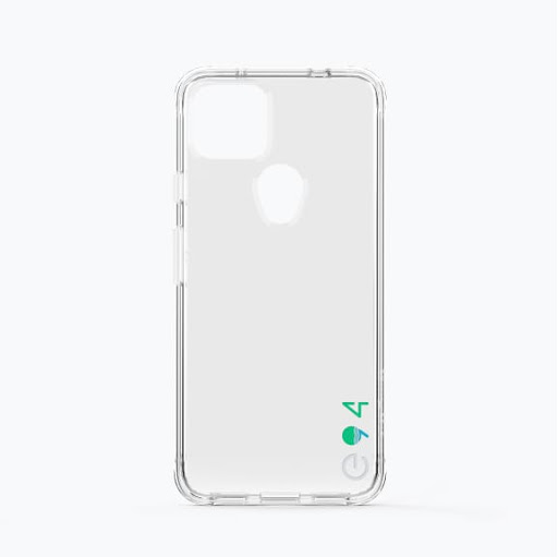Exterior of the Case-Mate Eco94™ Eco Clear Case for Google Pixel 5a (5G) with the e-94 logo in the bottom corner.