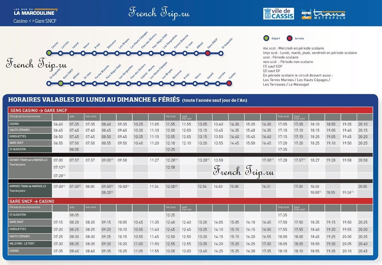 Расписание автобусов по Кассису - Cassis bus timetable