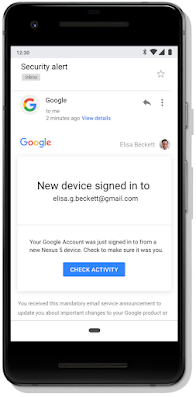 Gmail security alert for a new device sign in