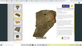 Captura de pantalla que muestra un fragmento de vaso campaniforme siendo explorado en 3D.