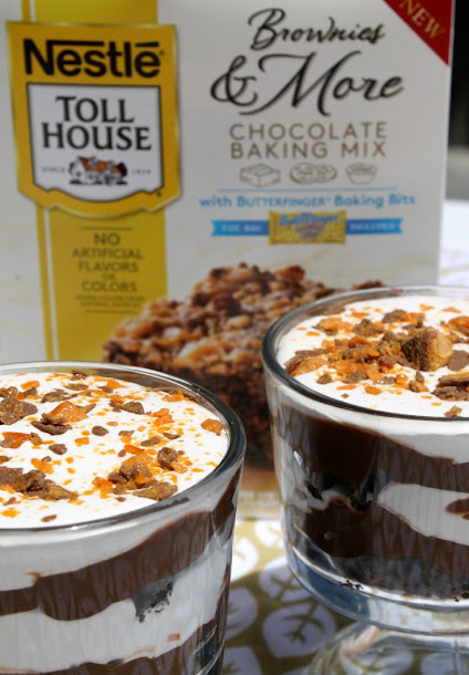 Butterfinger Brownie Trifle with Nestle Toll House Baking Mixes