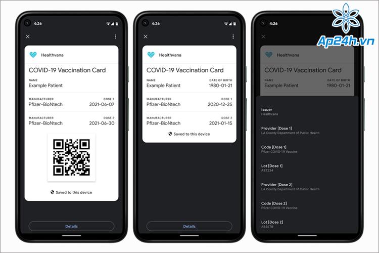 Hộ chiếu vắc xin COVID kỹ thuật số trong Android