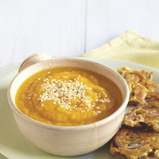 Rutabaga and Carrot Soup with Onion Fritters