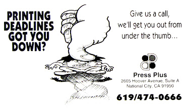 Photo: This was a cartoon and small ad for Press Plus, a company I worked for as a Prepress artist and Graphic Designer. It was also printed on the back of many of the sales force's business cards.