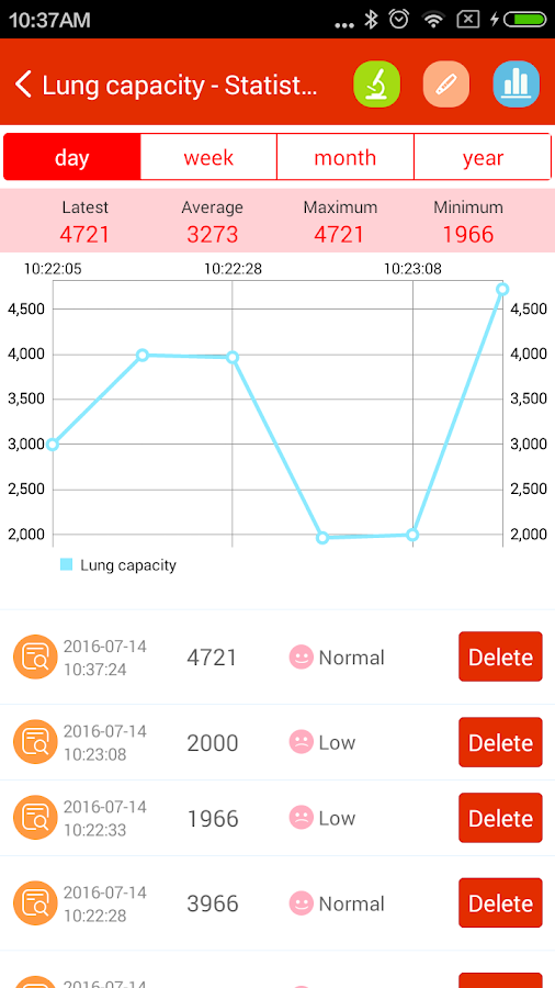 iCare Lung Capacity- screenshot