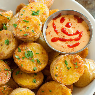 Easy Oven Roasted Potatoes with Sriracha Pumpkin Aioli
