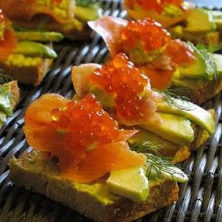 Red Caviar Avocado Appetizer.
