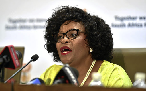Troubled waters: Water and Sanitation Minister Nomvula Mokonyane speaks to reporters at Tshedimosetso House in Pretoria on Wednesday. Picture: GCIS