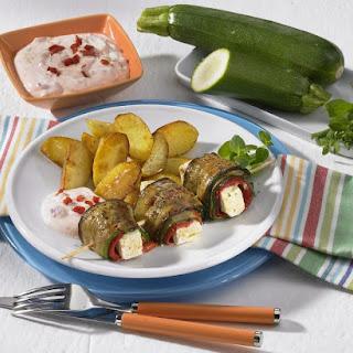 Zucchini and Feta Kebabs.