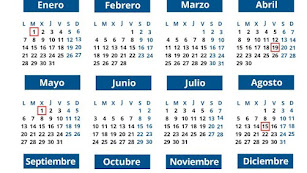 Detalle del calendario laboral para 2019.