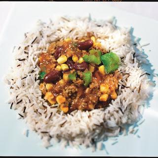 Chili mit Mais und Reis