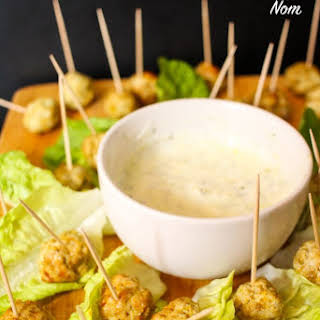 Syn Free Spiced Turkey Bites with Low Syn Minty Dip.