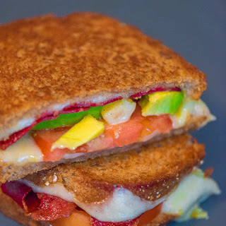 Turkey Bacon and Avocado Grilled Cheese Sandwich.