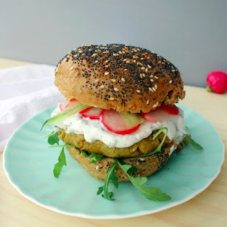 Broad Bean Burgers with Tzatziki and Pickled Radish
