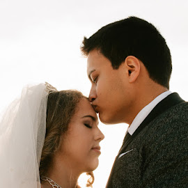 Forehead kisses by Autumn Wright - Wedding Bride & Groom ( bride, groom, beach, wedding, kiss )
