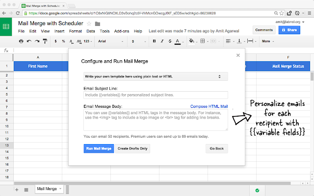 Mail Merge with Attachments   Google Sheets add on