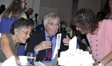 Photo: Advisory board members Phyllis Bennis and Marjorie Cohn with keynote speaker Seymour Hersh