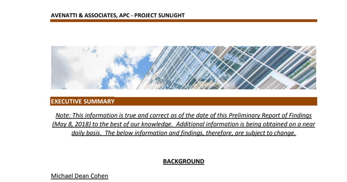 Avenatti Document on Money Executive Summary pdf - Google Drive