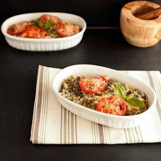 Chicken Pesto Cauliflower Rice Bake.