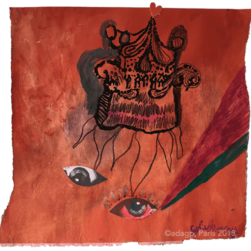 la-maison-du-diable-red-rouge-mauvais-oeil-eye-evil--sophie-lormeau-peinture-artiste-contemporaine-papier-magazine-upcycling-chagall-singuler-art-figuratif-recyclage-colorful-adagp-paris-2018