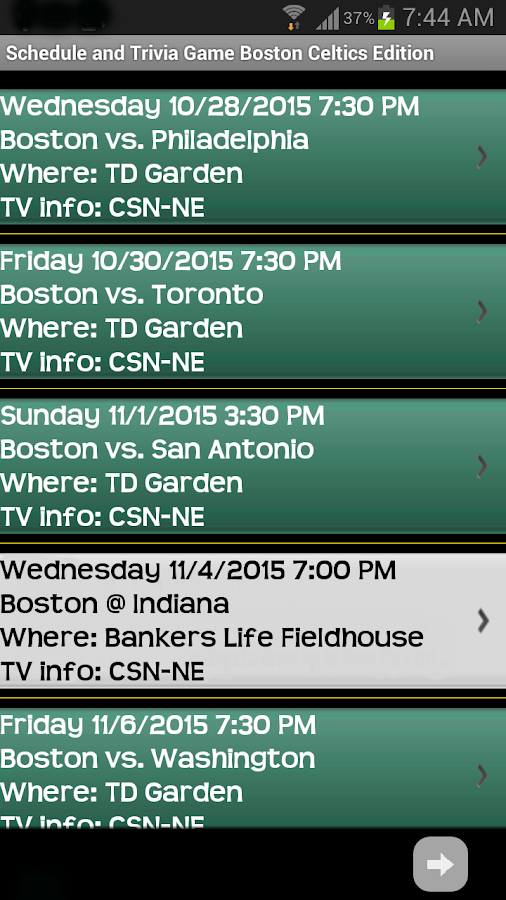 Schedule Boston Celtics fans- screenshot