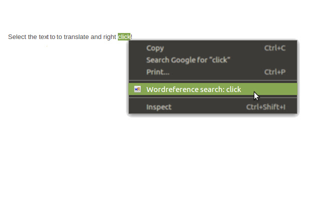 Right-Click Wordreference Search