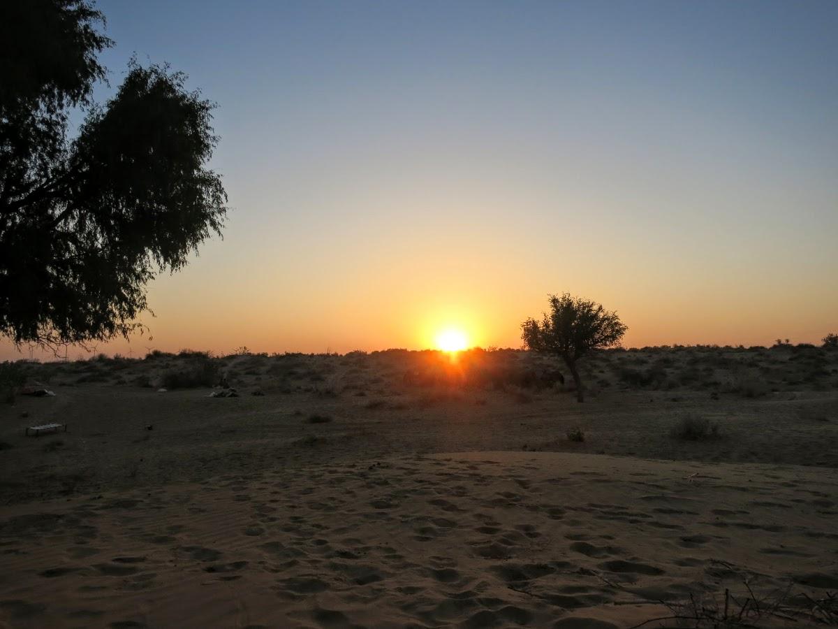 India. Rajasthan Thar Desert Camel Trek. Sunrise over the Thar Desert