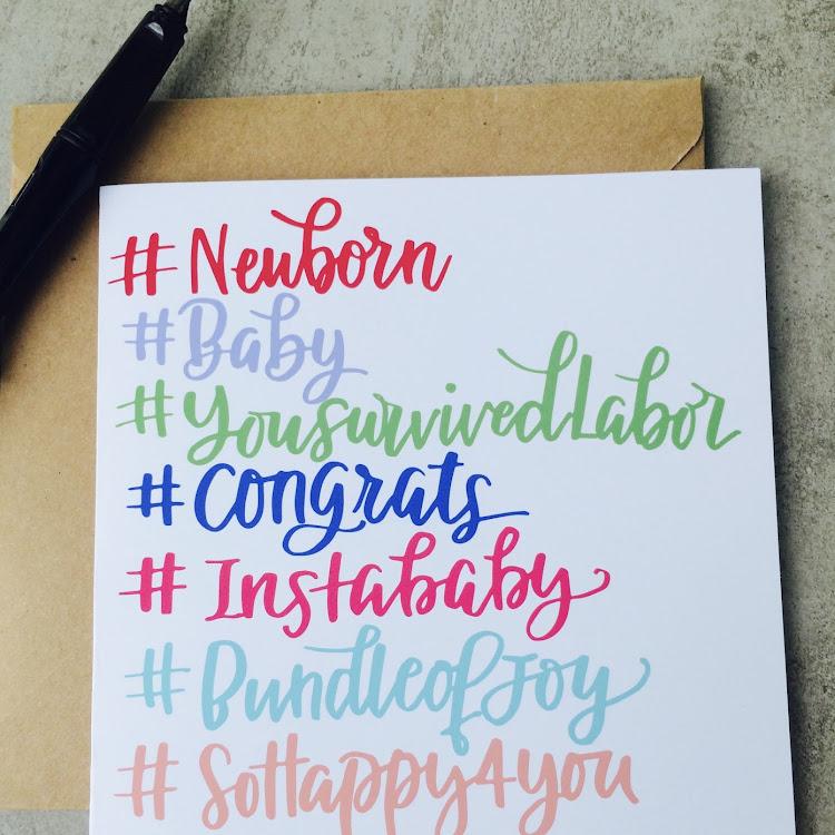 Hashtag Baby Card