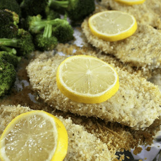 Crunchy Lemon Parmesan Chicken with Broccoli.