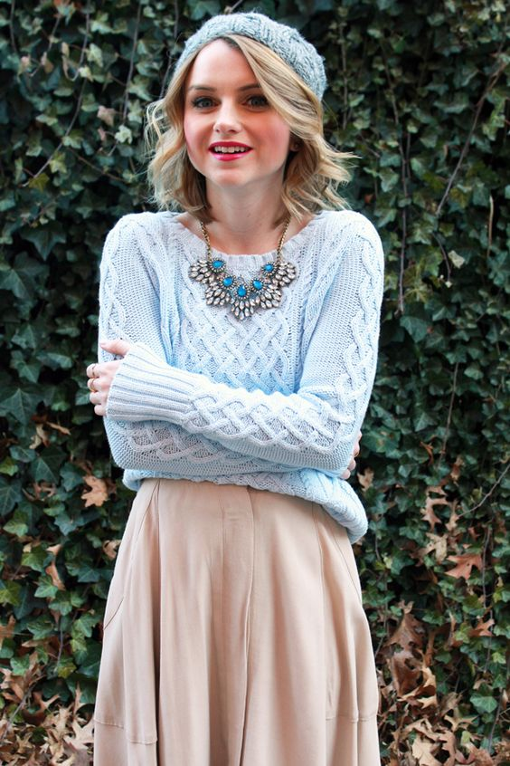 Pretty fall outfit with knitted blue sweater and skirft for Light Summer women