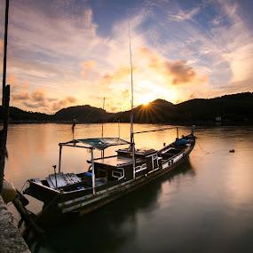 Morning by Muhammad Ikhsan - Transportation Boats ( sunrise, indonesia, landscape, boat, morning )