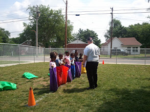 Photo: getting ready for the sack race